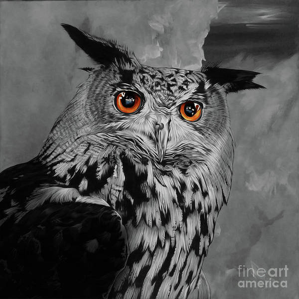 Wall Art - Painting - Owls Eye by Gull G