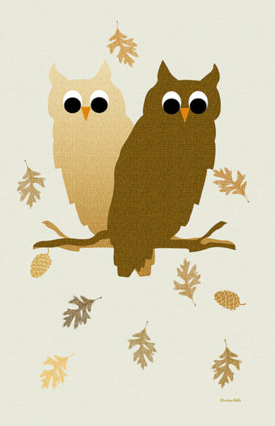 Woodland Mixed Media - Owls Pattern Art by Christina Rollo