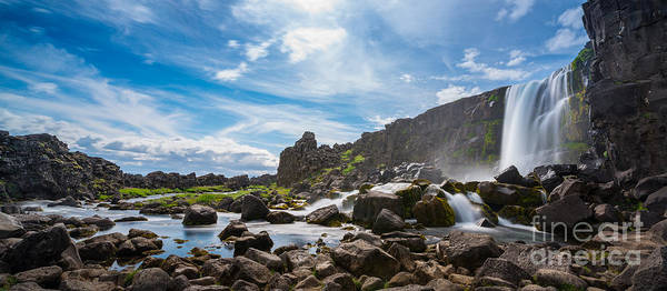 Wall Art - Photograph - Oxararfoss Panorama Waterfall by Michael Ver Sprill