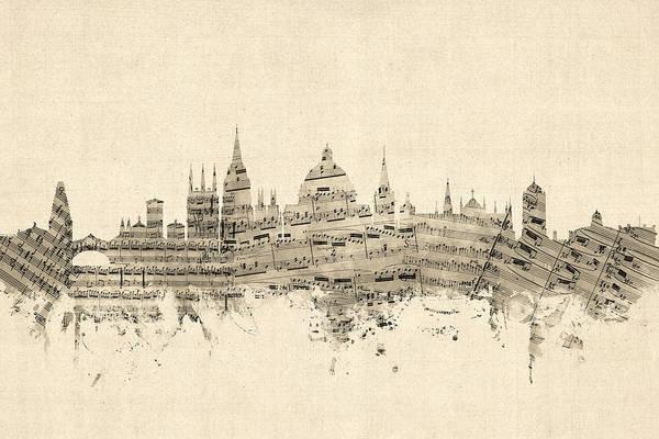Wall Art - Digital Art - Oxford England Skyline Sheet Music by Michael Tompsett