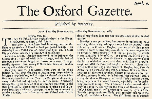 Photograph - Oxford Gazette, 1665 by Granger