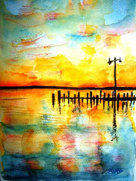 Wall Art - Painting - Oxford Sunset by Elaine Duras