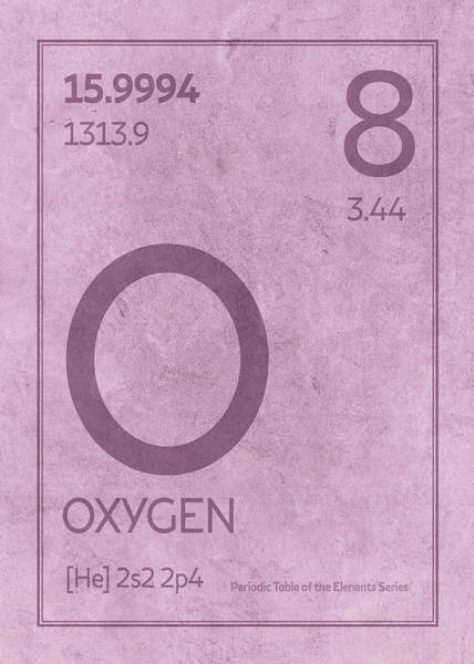 Atomic Number Wall Art - Mixed Media - Oxygen Element Symbol Periodic Table Series 008 by Design Turnpike