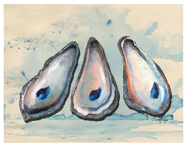 Wall Art - Painting - Oyster Shells by Elaine Hodges