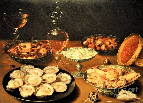 Wall Art - Painting - Oysters Fruit Wine by Pg Reproductions