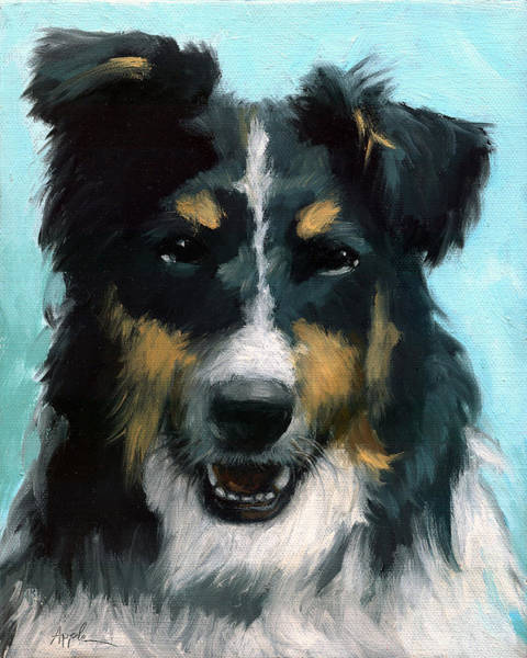 Wall Art - Painting - Ozzie Animal Dog Portrait by Linda Apple