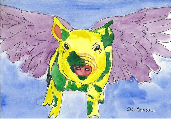 Wall Art - Painting - Ozzy The Pigasus by Ali Baucom