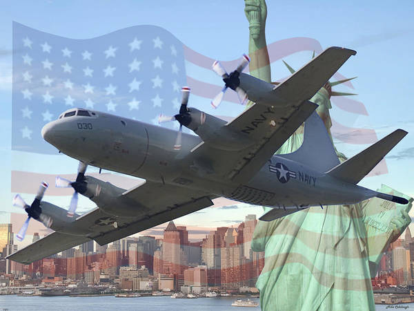 Orion Digital Art - P-3 Orion Over Liberty by Mil Merchant