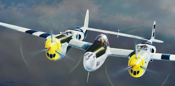 Painting - P-38 On The Prowl by Douglas Castleman