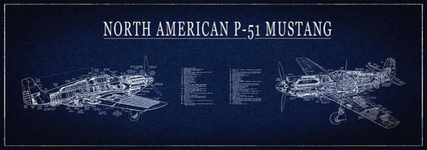 Wall Art - Digital Art - P-51 Mustang Fighter Blueprint by Daniel Hagerman