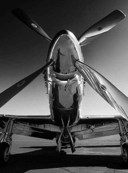 Black And White Photograph - P-51 Mustang by John Hamlon