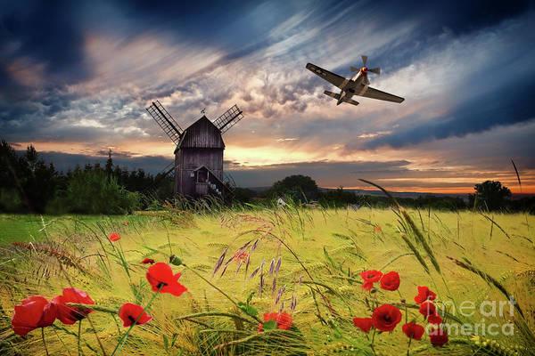 Wall Art - Digital Art - P-51 Mustang Poppy Pass by J Biggadike