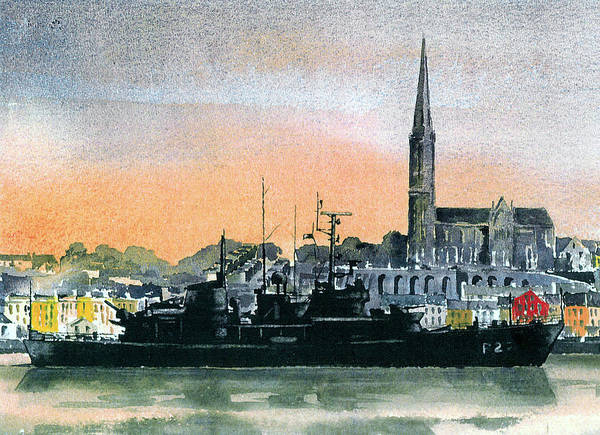 Painting - F 808 Cobh Harbour, Cork by Val Byrne