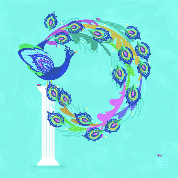 Digital Art - P Is For Peacock by Valerie Drake Lesiak