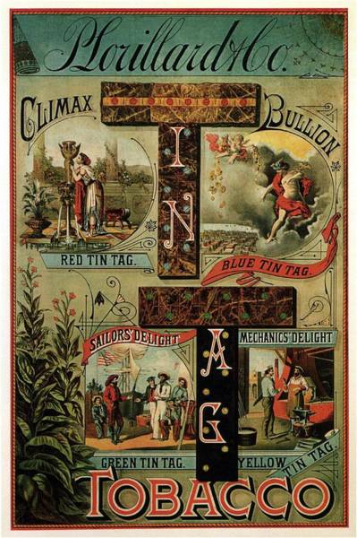 Tobacco Wall Art - Mixed Media - P. Lorillard And Co - Climax Bullion - Vintage Tobacco Advertising Poster by Studio Grafiikka