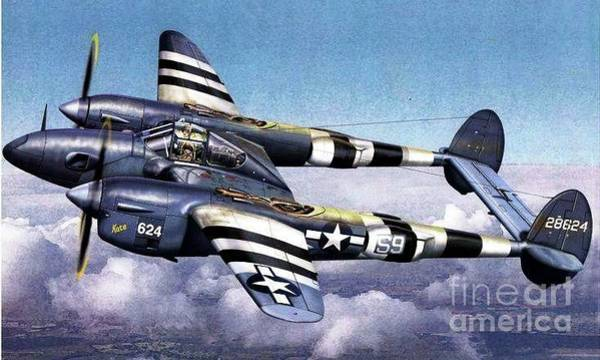 Wall Art - Painting - P38 Lightning by Richard John Holden RA