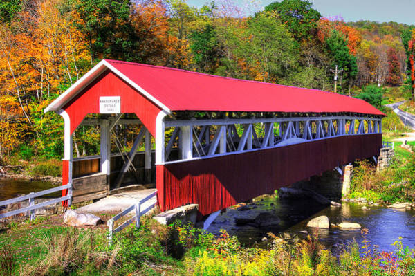Somerset County Photograph - Pa Country Roads - Barronvale Covered Bridge Over Laurel Hill Creek - Autumn, Somerset County by Michael Mazaika