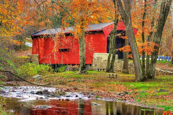 Wall Art - Photograph - Pa Country Roads- Bartrams / Goshen Covered Bridge Over Crum Creek No.11 Chester / Delaware Counties by Michael Mazaika