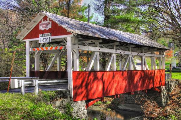 Somerset County Photograph - Pa Country Roads - Burkholder / Beechdale Covered Bridge Over Buffalo Creek No.1 Somerset County by Michael Mazaika