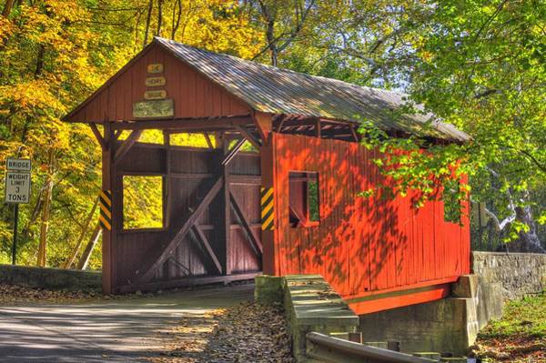 Wall Art - Photograph - Pa Country Roads - Henry Covered Bridge Over Mingo Creek No. 3a - Autumn Washington County by Michael Mazaika