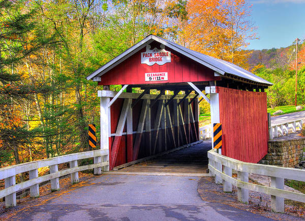 Somerset County Photograph - Pa Country Roads - Packsaddle / Doc Miller Covered Bridge Over Brush Creek No. 1a - Somerset County by Michael Mazaika