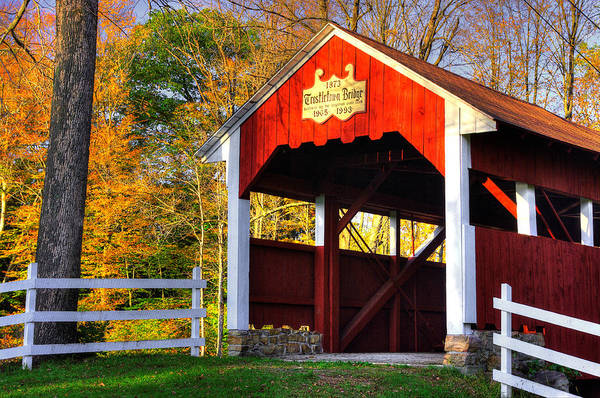 Somerset County Photograph - Pa Country Roads - Trostletown Covered Bridge Over Stony Creek No. 4a - Somerset County by Michael Mazaika