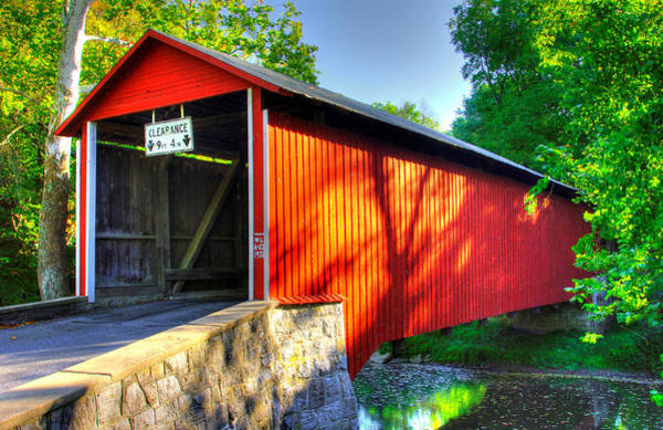 Wall Art - Photograph - Pa Country Roads - Witherspoon Covered Bridge Over Licking Creek No. 4b - Franklin County by Michael Mazaika