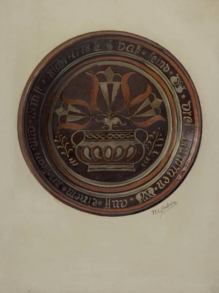 Wall Art - Drawing - Pa German Dish by William L Antrim