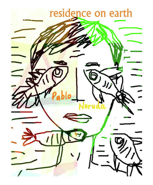 Drawing - Pablo Neruda Poster  by Paul Sutcliffe