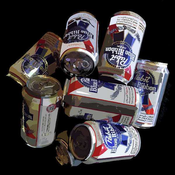 Beer Can Digital Art - Pabst Blue Ribbon Can Art by Timothy Ruf