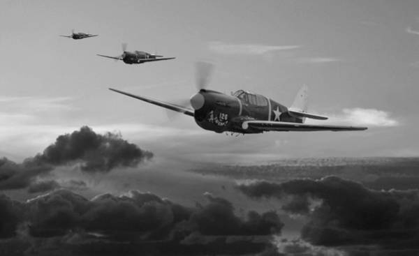 Wall Art - Digital Art - Pacific Warhorse - Usaaf Version - Bw by Mark Donoghue