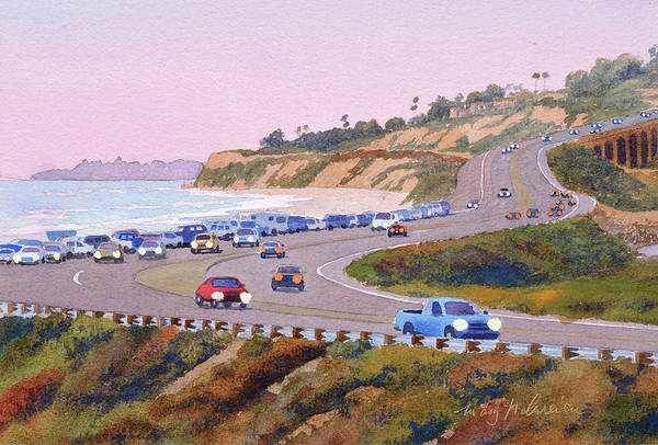 Wall Art - Painting - Pacific Coast Hwy Del Mar Dusk by Mary Helmreich