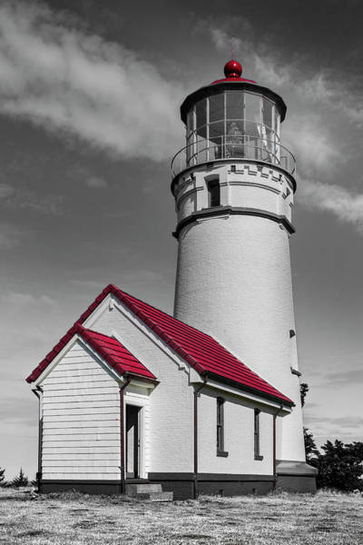 Photograph - Pacific Coastal Lighthouse In Creative Black And White by Debra and Dave Vanderlaan