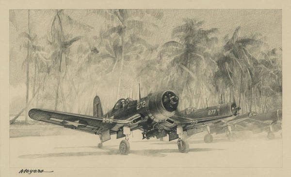 Flying Drawing - Pacific Corsairs by Wade Meyers