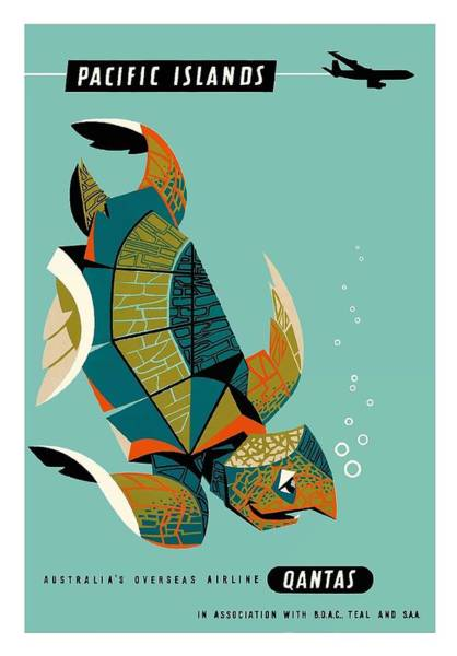 Pacific Digital Art - Pacific Islands Green Sea Turtle - Vintage Hawaiian Travel Poster By Harry Rogers by Retro Graphics