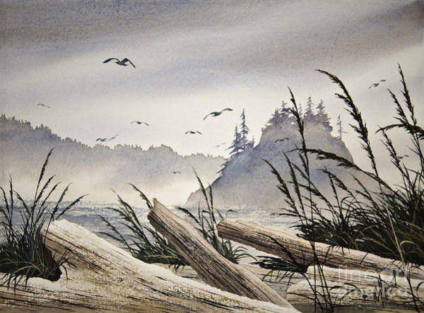 Driftwood Painting - Pacific Northwest Driftwood Shore by James Williamson