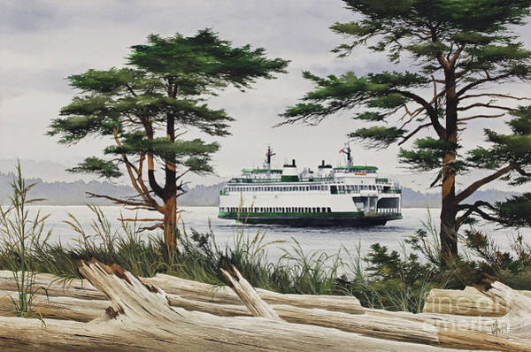Port Townsend Painting - Island Shore - Washington State Ferry by James Williamson