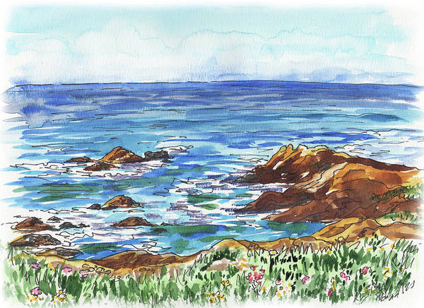 Wall Art - Painting - Pacific Ocean Shore Monterey by Irina Sztukowski