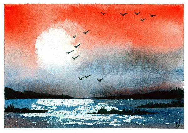 Bird Watercolor Mixed Media - Pacific Sunset V by Tonya Doughty