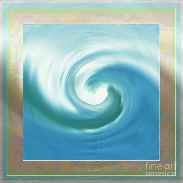 Digital Art - Pacific Swirl With Border by Shelley Myers