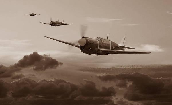 Royal Air Force Digital Art - Pacific Warhorse - Rnzaf Version - Sepia by Mark Donoghue