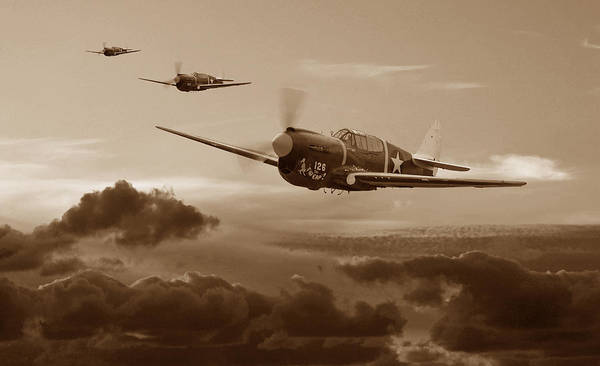 Wall Art - Digital Art - Pacific Warhorse - Usaaf Version - Sepia by Mark Donoghue