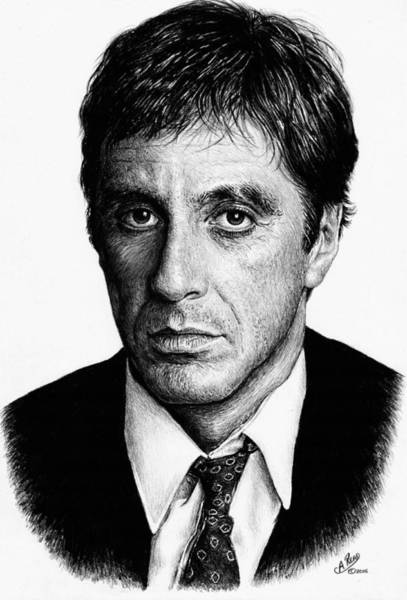 Montana Drawing - Pacino Scarface by Andrew Read