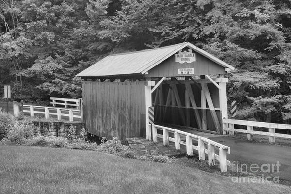 Somerset County Photograph - Pack Saddle Covered Bridge Black And White by Adam Jewell
