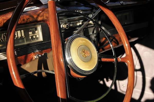 Antic Photograph - Packard Steering Wheel by David Lee Thompson