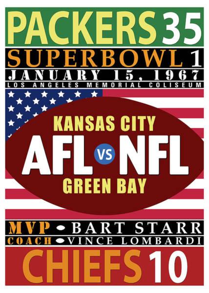 Wall Art - Digital Art - Packers 35 Chiefs 10 Super Bowl 1 by Ron Regalado