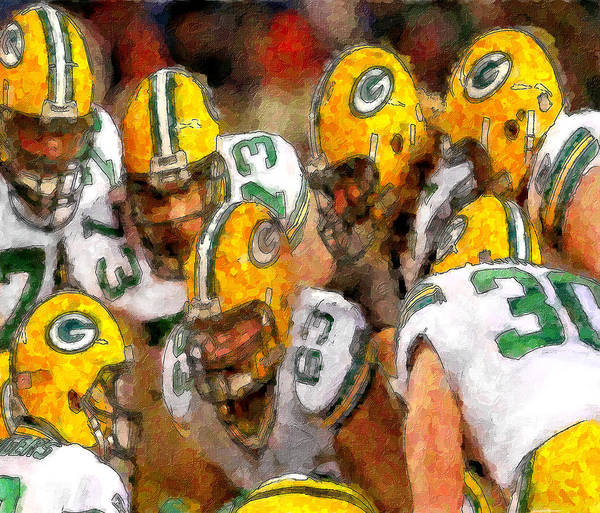 Wall Art - Painting - Packers Huddle Up by John Farr
