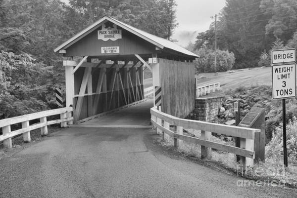 Somerset County Photograph - Packsaddle Covered Bridge Black And White by Adam Jewell