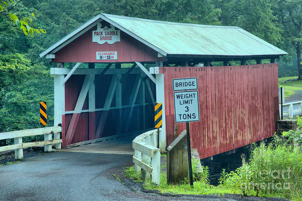 Somerset County Photograph - Packsaddle Covered Bridge Landscape by Adam Jewell
