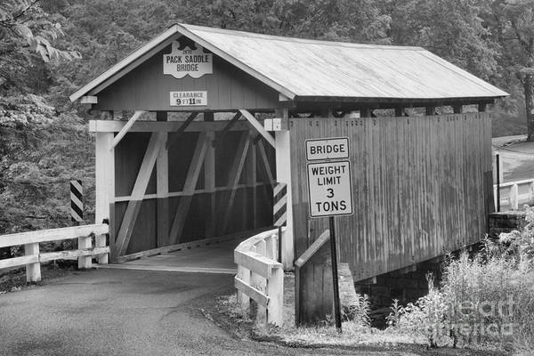 Somerset County Photograph - Packsaddle Covered Bridge Landscape Black And White by Adam Jewell